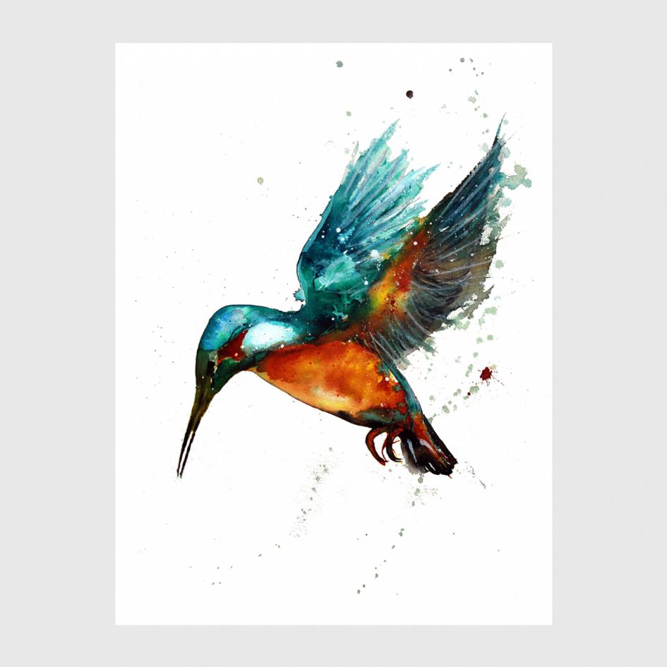 bird Kingfisher Blue watercolor by Nina fraser