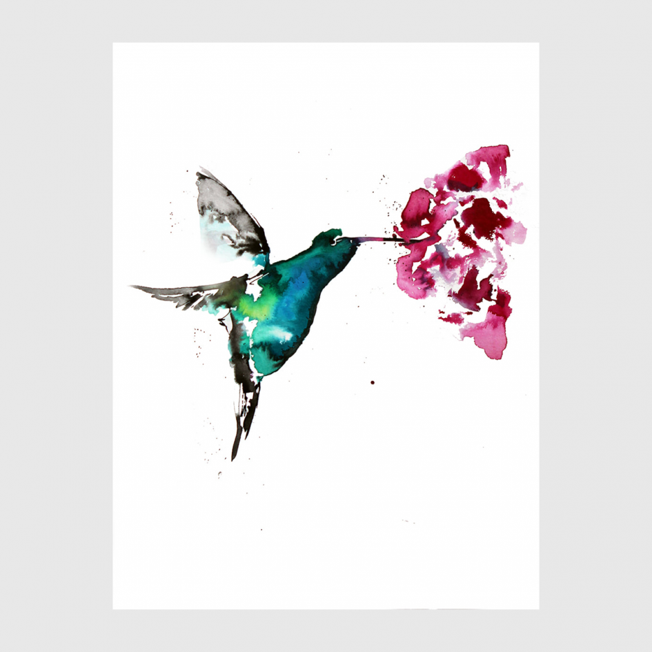 bird Hummingbird watercolor by Nina fraser