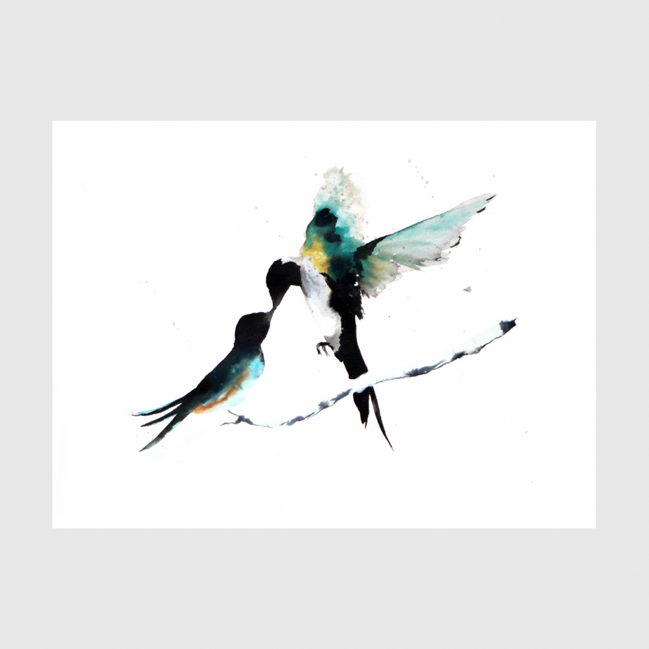 bird Dancing Swallows watercolor by Nina fraser