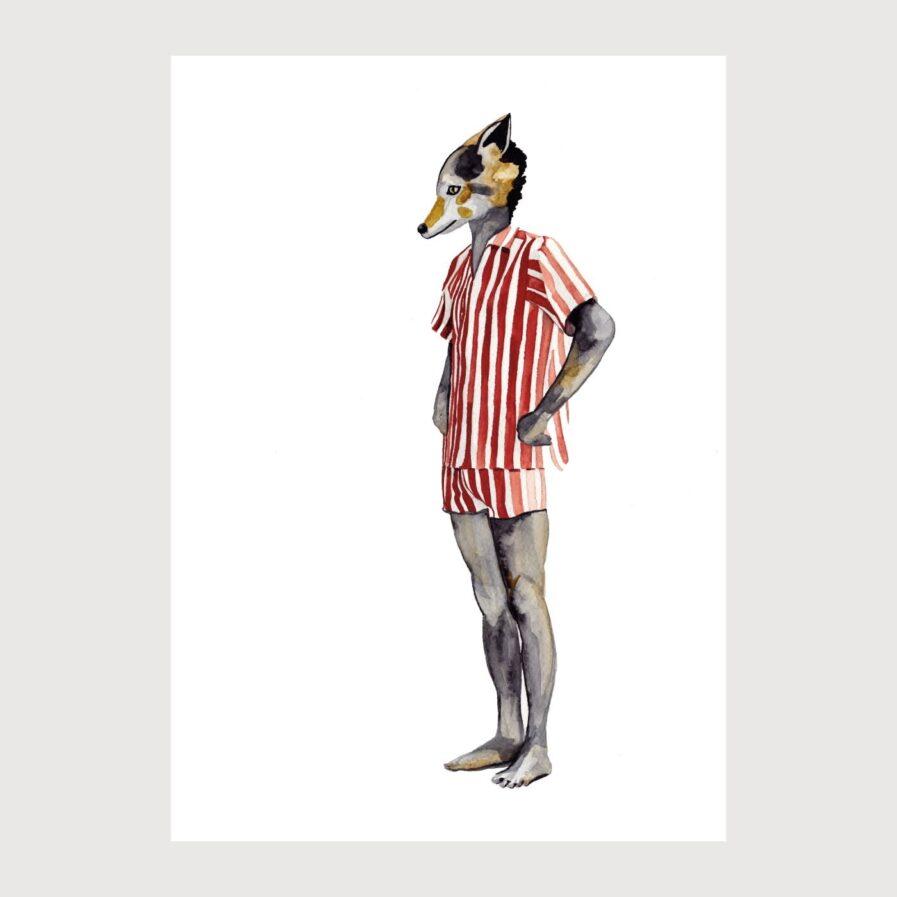 dog in pijama illustration by karina krumina