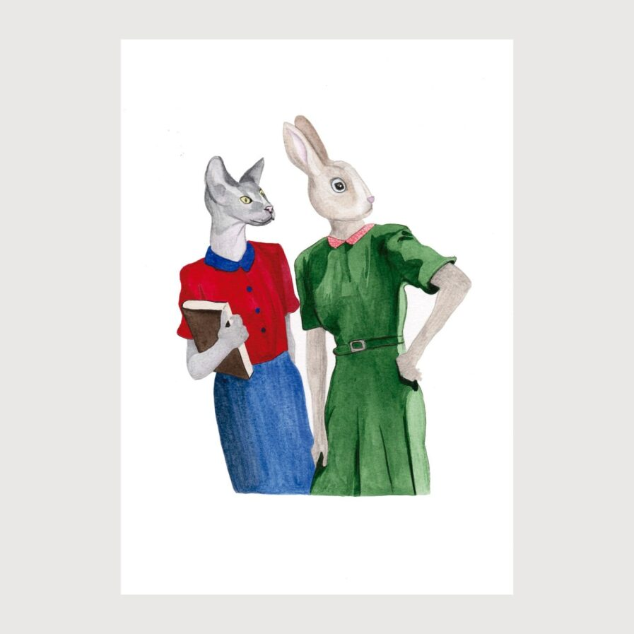 cat and rabbit in school illustration by karina krumina