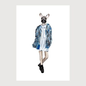dog dressed up illustration by karina krumina