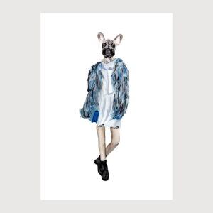 dog dressed up illustration by karina krumina