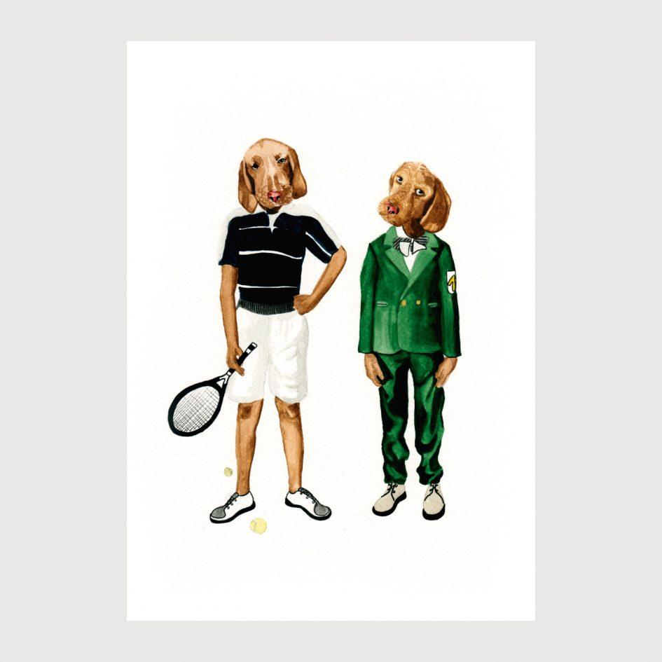 Dogs playing tenis illustration by karina krumina