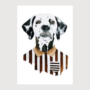 dog dressed with stripes illustration by karina krumina