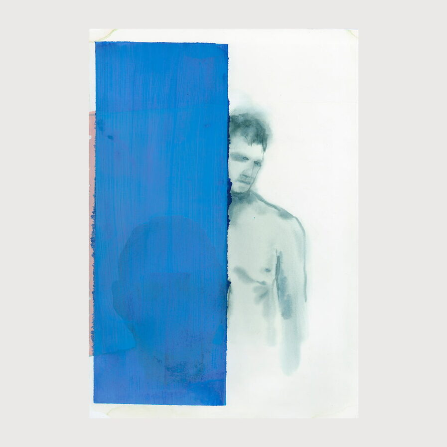 man naked behind a blue wall, watercolor by dylan silva