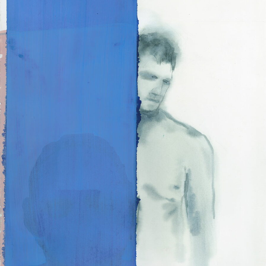 man naked behind a blue wall, watercolor by dylan silva