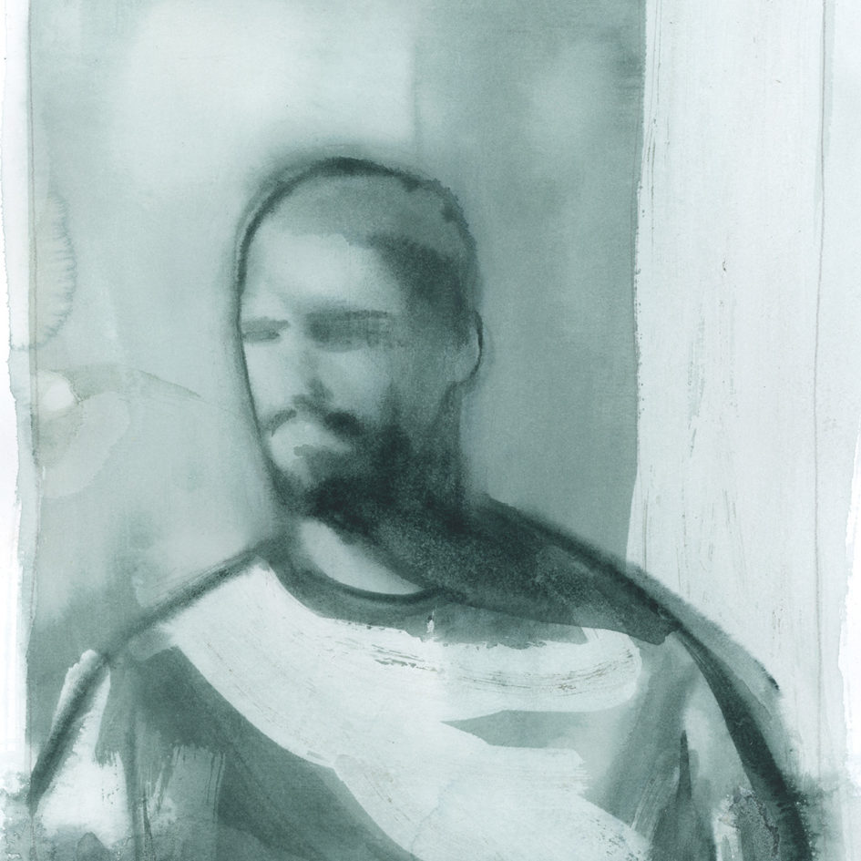 Grey watercolor with man by Dylan Silva