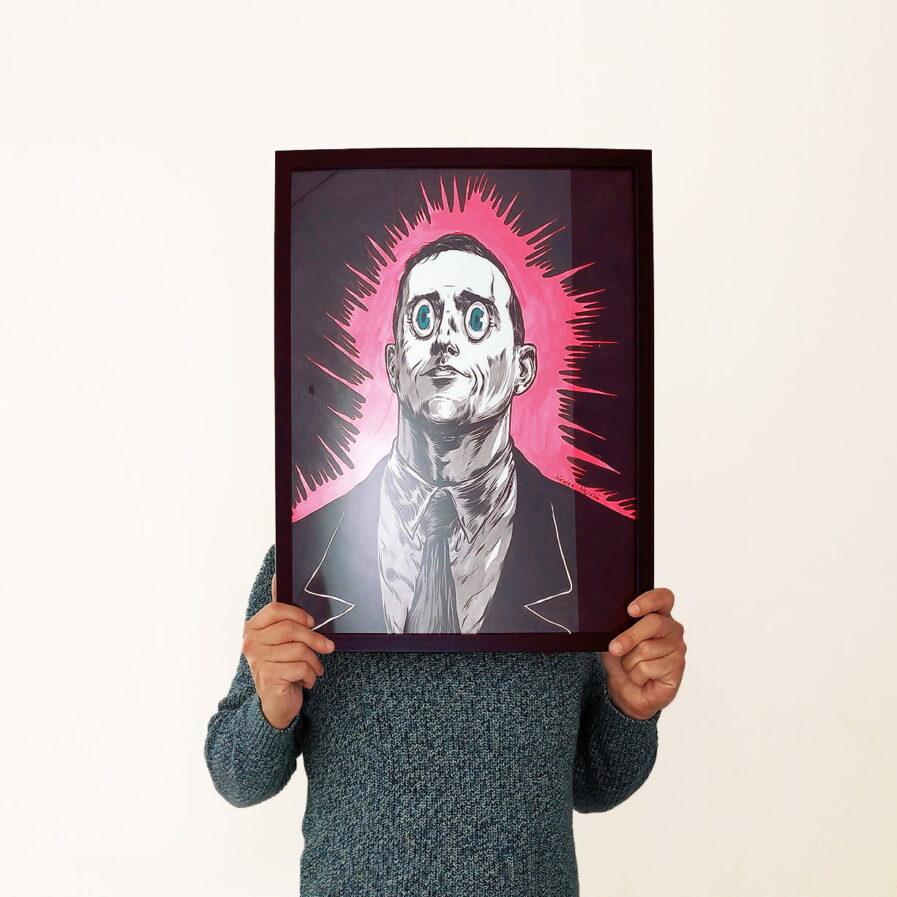 holding an artwork