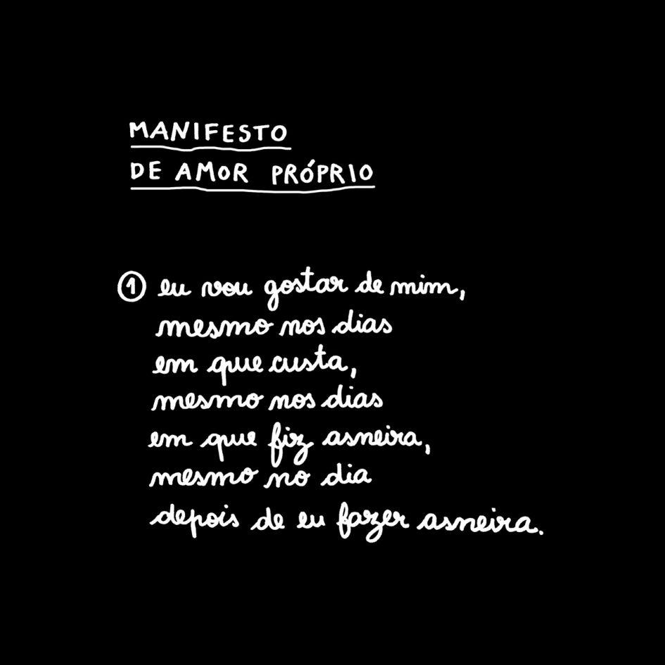 MANIFESTO DE AMOR PRÓPRIO clara não