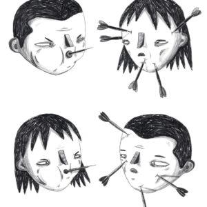 ilustração de namorados e flechas