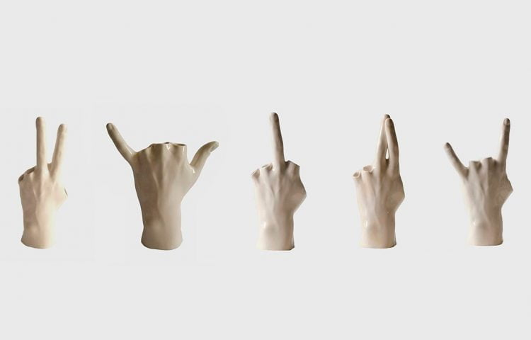 collection of ceramic hands