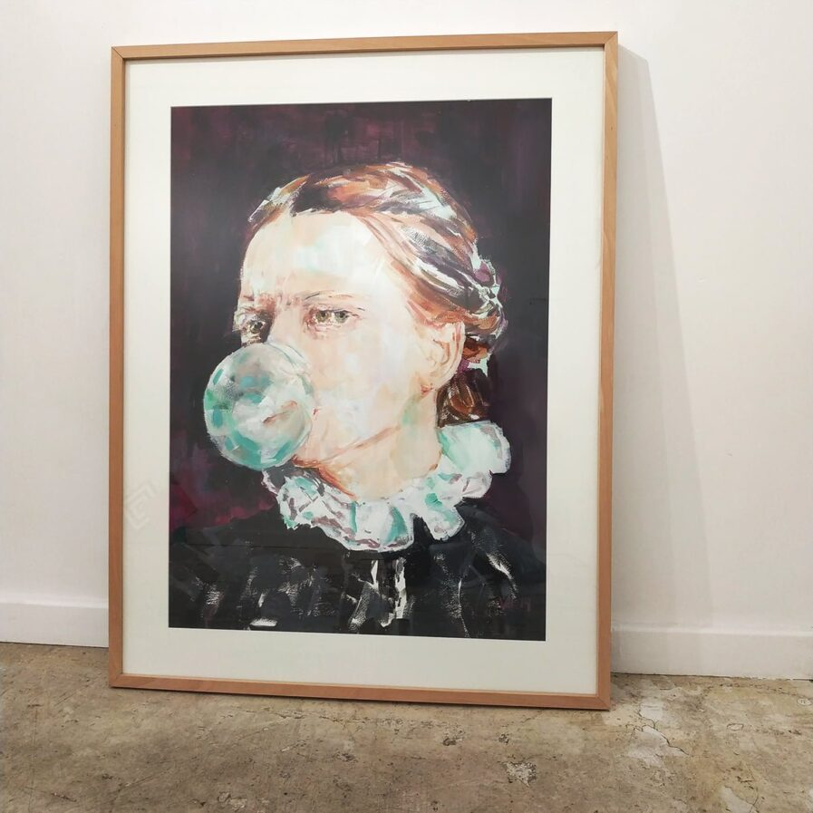 chewing gum frame acrylic on paper woman