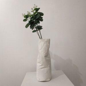 vaso de flores, branco, amassado
