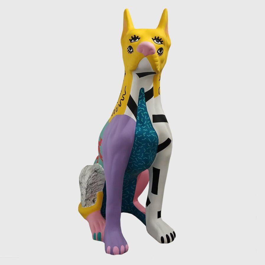 cão louça pintado