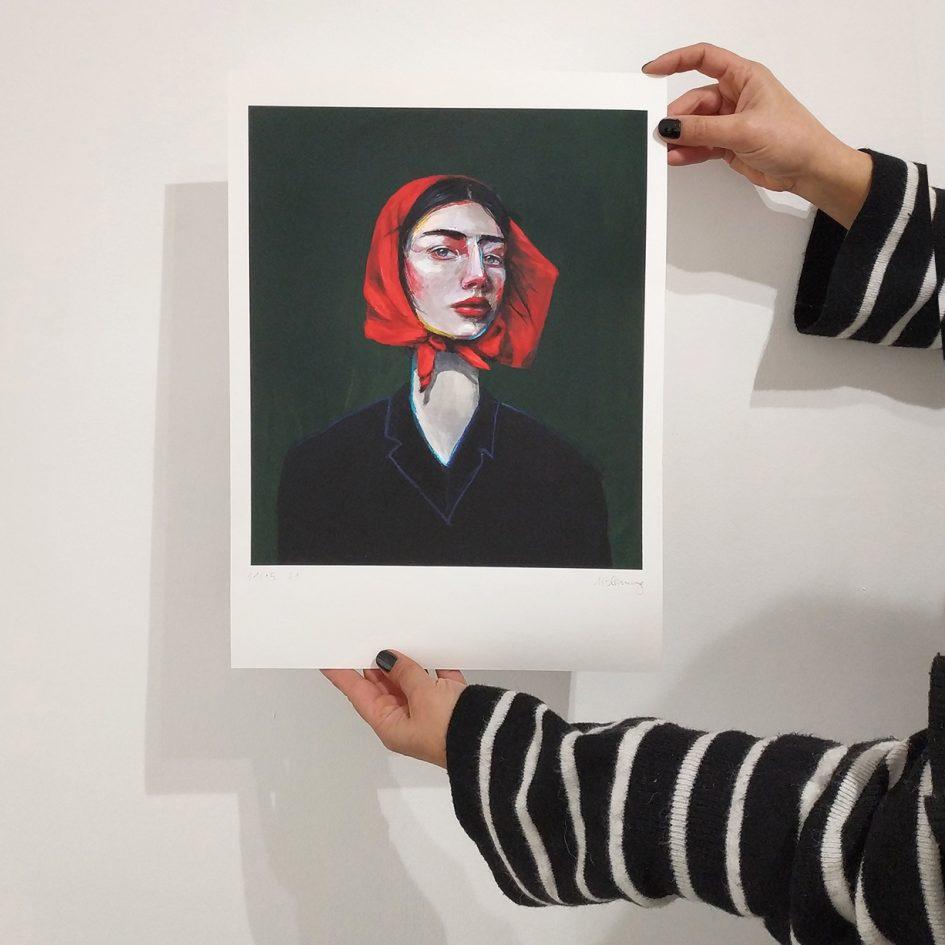 red, portrait, woman, hands