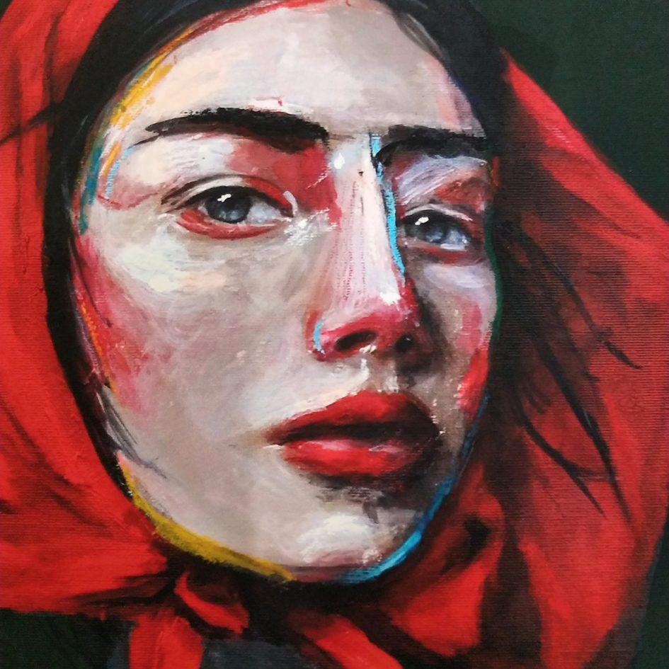 red, portrait, woman, detail