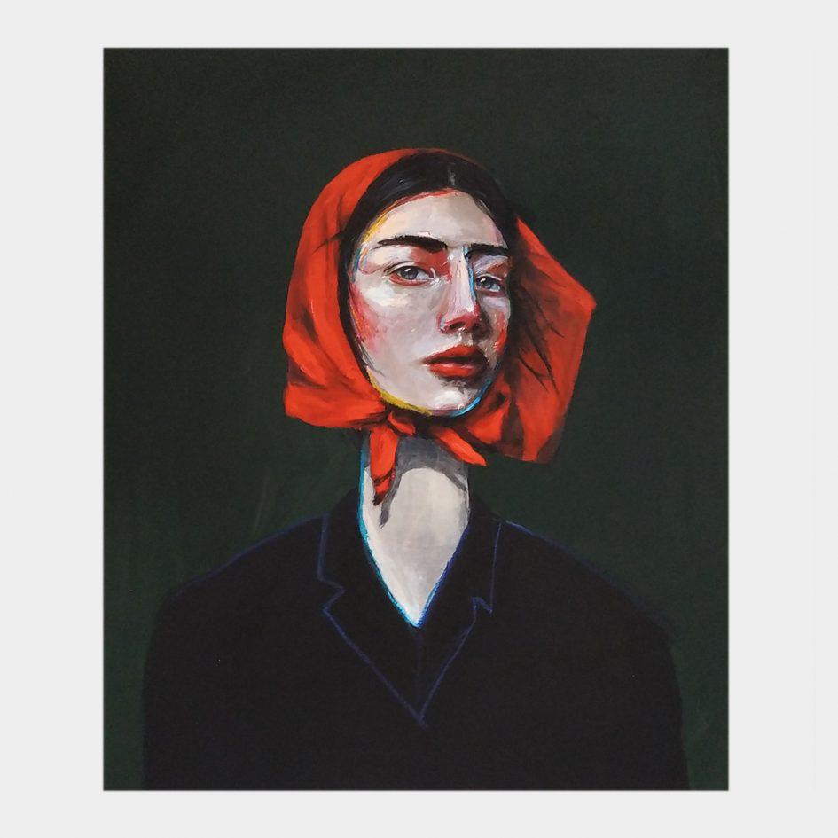 red, portrait, woman