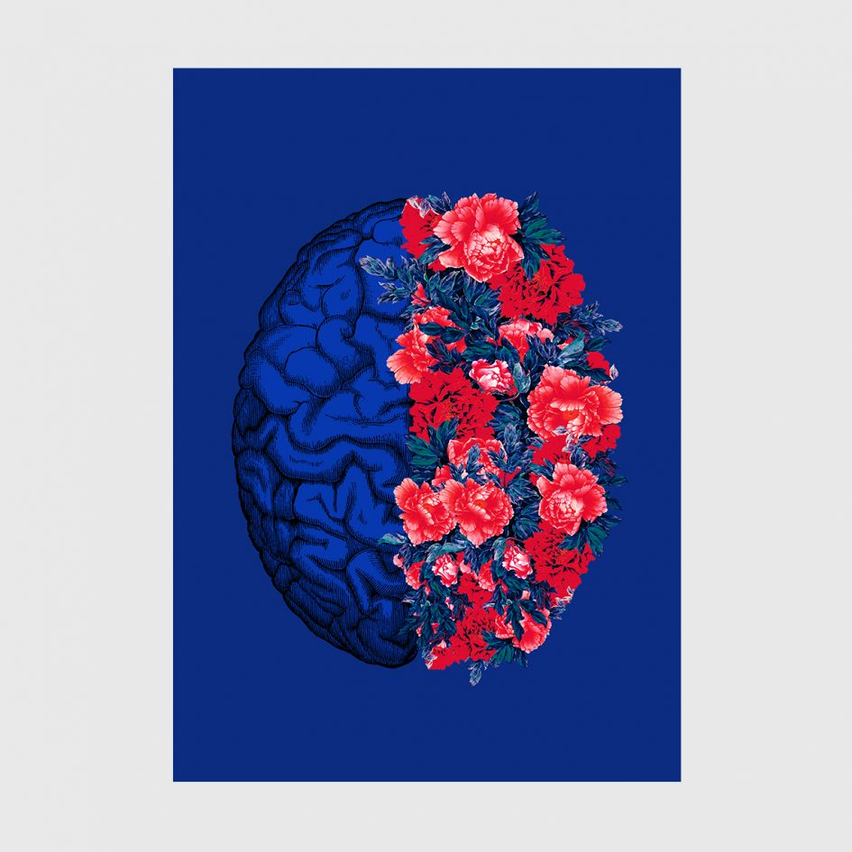 brain flowers blue