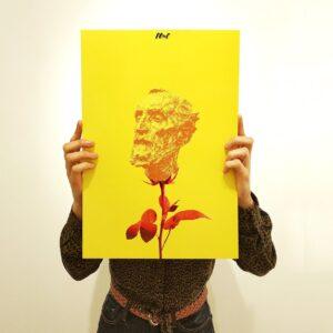flowers face man