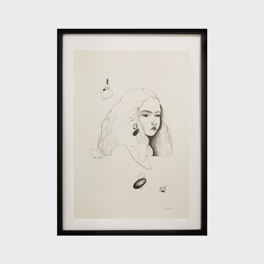 Frame with drawing of a girl