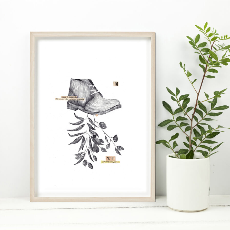 pencil drawing with shoe framed