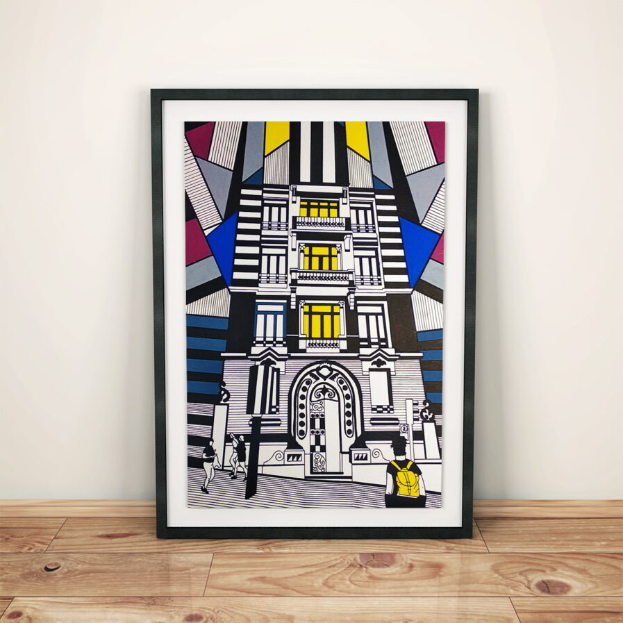 frame with a drawing of a building facade