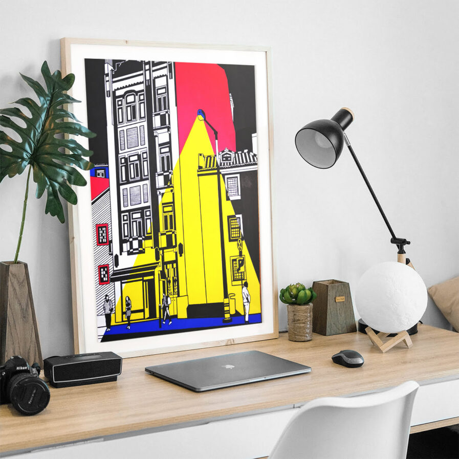 office table with picture of buildings