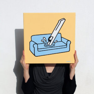 holding canvas