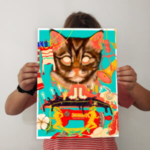 holding print cat
