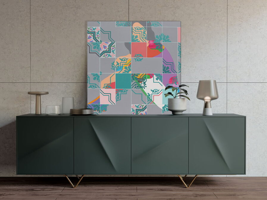 Living room decor details with painting of lara roseiro