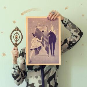 holding mirror risograph
