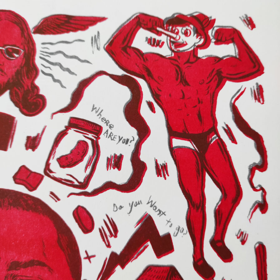 Red illustration with men