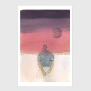 moon man print watercolor