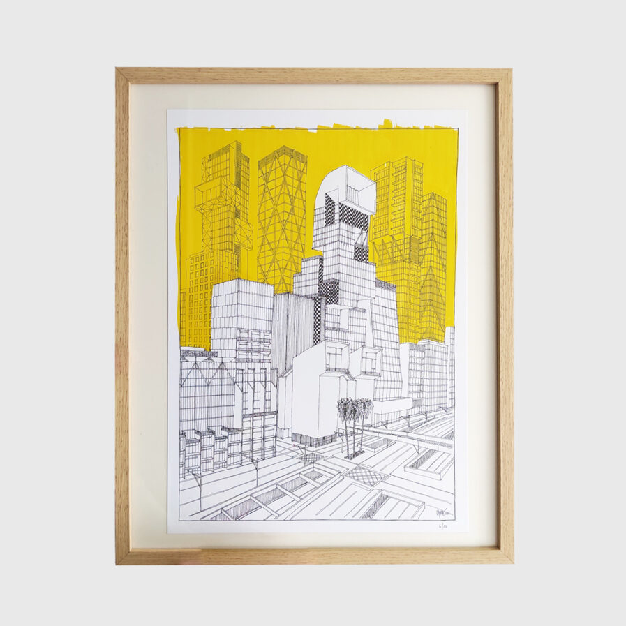 architecture drawing with frame