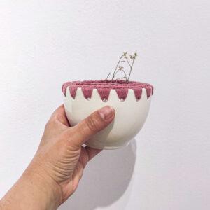 taça em cerâmica com crochet