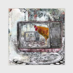 television with a chicken